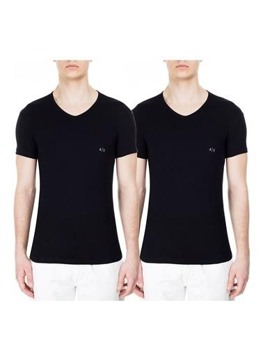 Armani Exchange  Pamuklu V Yaka 2 Pack T Shirt Erkek T Shırt 956004 Cc282 07320 Siyah
